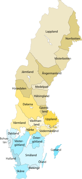 Swedish Provinces Information English UTF - Sweden map varmland